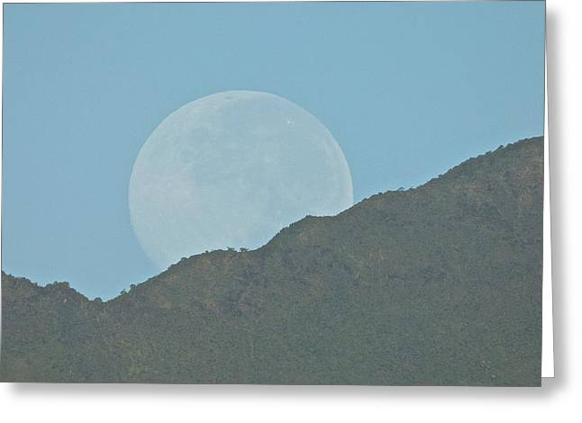 Sea Moon Full Moon Greeting Cards - Moon behind the mountain Greeting Card by Robert Abbett