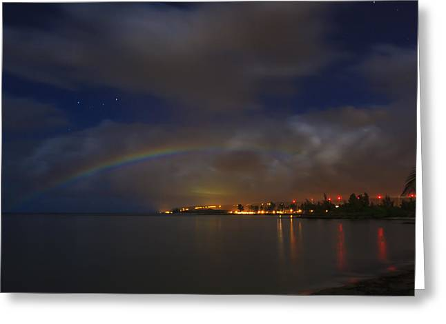 Moon Beach Greeting Cards - Moon Bow Greeting Card by Kelly Headrick