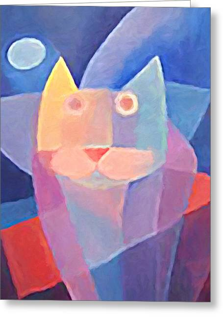 Abstract Cat Greeting Cards - Moon Cat Greeting Card by Lutz Baar