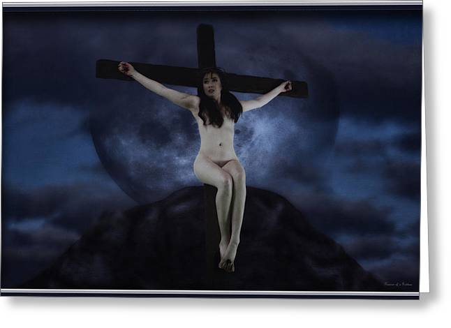 Calvary Greeting Cards - Moon crucifix II Greeting Card by Ramon Martinez
