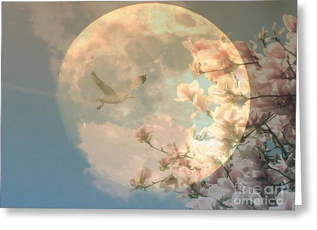 Decorativ Greeting Cards - Moon Greeting Card by Die Farbenfluesterin