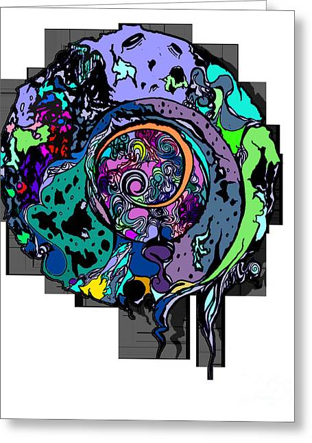 Abstract Digital Drawings Greeting Cards - Moon Disguise  Greeting Card by Carly Anderson