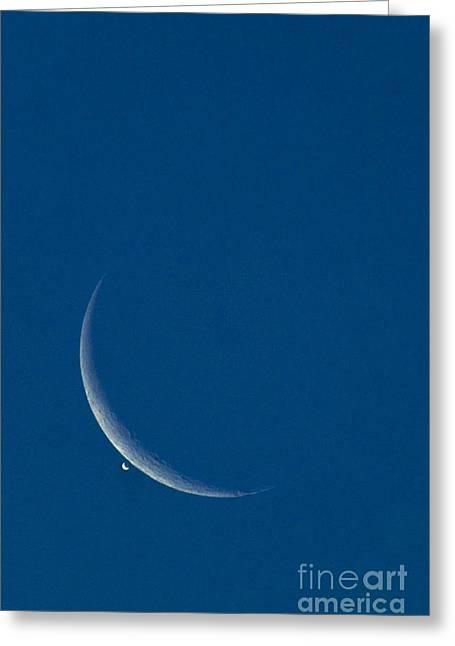 Lunar Crescent Greeting Cards - Moon Eclipsing Venus Greeting Card by David Nunuk