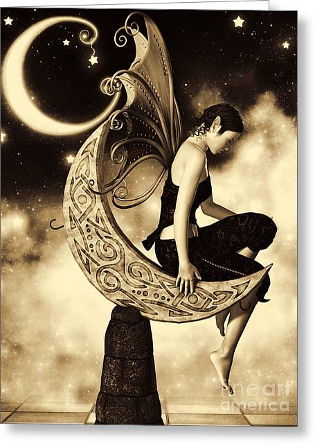 Hob Greeting Cards - Moon Fairy Sepia Greeting Card by Alexander Butler