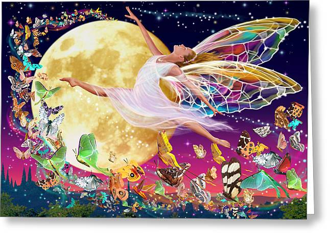 Walton Greeting Cards - Moon Fairy Variant 1 Greeting Card by Garry Walton