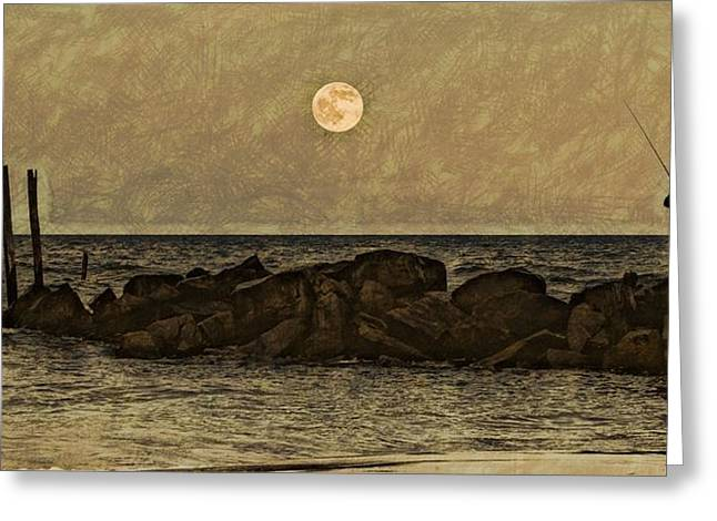 Beach Photos Drawings Greeting Cards - Moon Fishing Greeting Card by Steven Parks