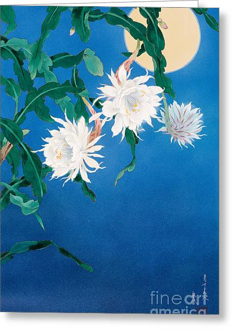 Art Print Digital Art Greeting Cards - Moon Flower Greeting Card by Haruyo Morita