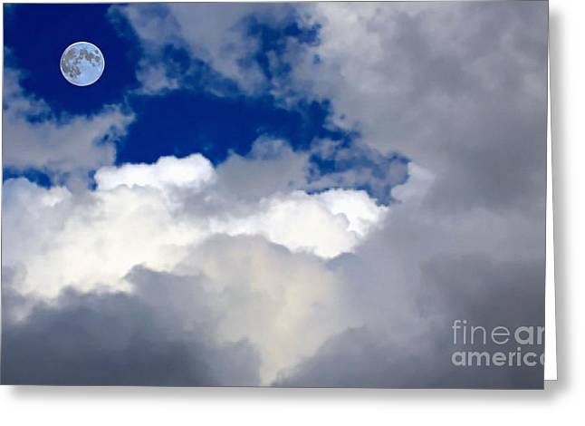 Gaia Greeting Cards - Moon - Fluffy Clouds -Vivid Blue Sky Greeting Card by Barbara Griffin