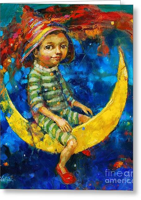 Dream Scape Greeting Cards - Moon Fun Greeting Card by Michal Kwarciak