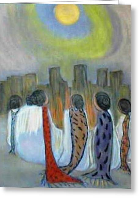 Gathering Pastels Greeting Cards - Moon Gathering Greeting Card by Patsy  Stanley
