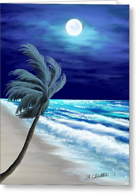 Breezy Digital Greeting Cards - Moon Glow Bay Greeting Card by Amy Scholten