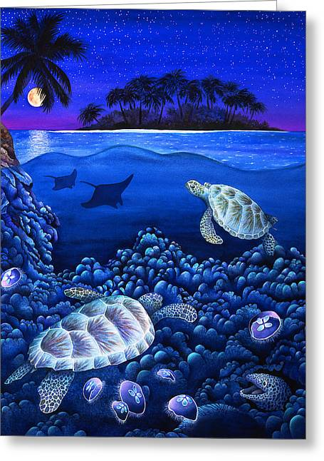 Sea Moon Full Moon Greeting Cards - Moon Glow Greeting Card by Carolyn Steele