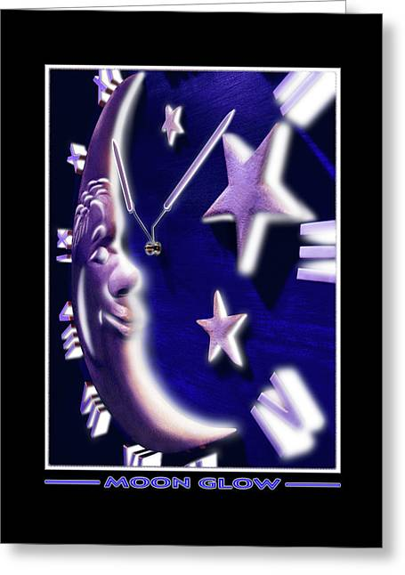 Clock Face Greeting Cards - Moon Glow Greeting Card by Mike McGlothlen