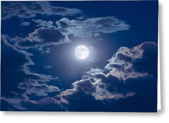 Astronomy Greeting Cards - Moon Glow Greeting Card by Steve Gadomski