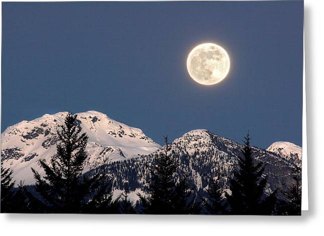 Whistler Greeting Cards - Moon Glow Whistler Canada Greeting Card by Pierre Leclerc Photography