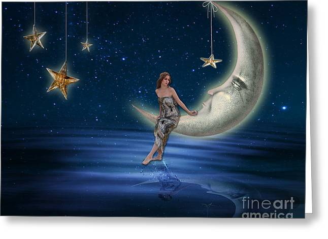 Goddess Digital Art Greeting Cards - Moon Goddess Greeting Card by Juli Scalzi