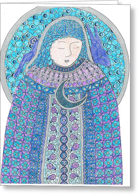 Luna Mixed Media Greeting Cards - Moon Goddess Greeting Card by Rebecca Klingbeil