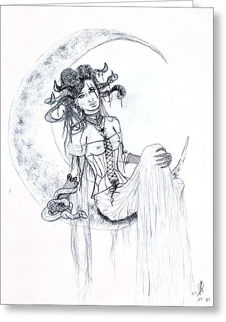 Corset Drawings Greeting Cards - Moon Goddess Sketch Greeting Card by Kd Neeley