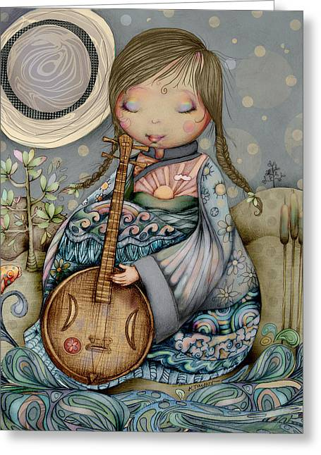 Special Occasion Digital Art Greeting Cards - Moon Guitar Greeting Card by Karin Taylor