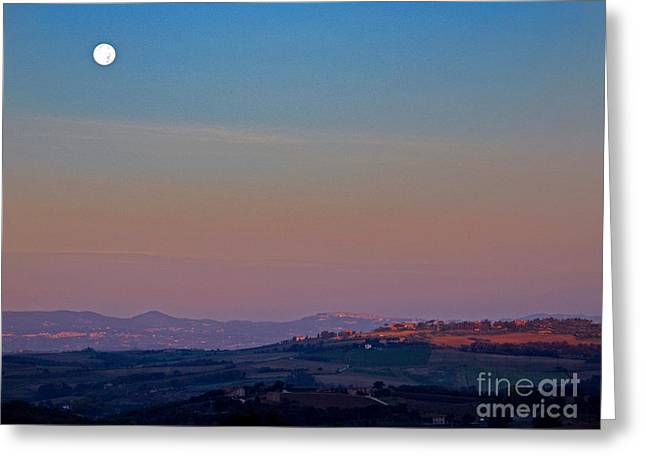 Tuscan Hills Photographs Greeting Cards - Moon Hanging Over Montepulciano, Italy Greeting Card by Tim Holt