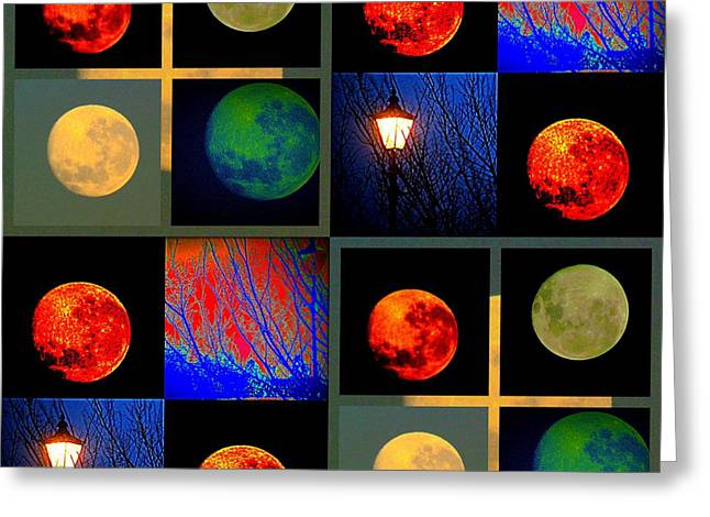 Joyce Woodhouse Greeting Cards - Moon In Colour Greeting Card by Joyce Woodhouse