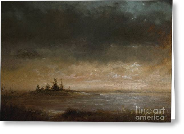 Maine Landscape Paintings Greeting Cards - Moon In Maine Greeting Card by Larry Preston