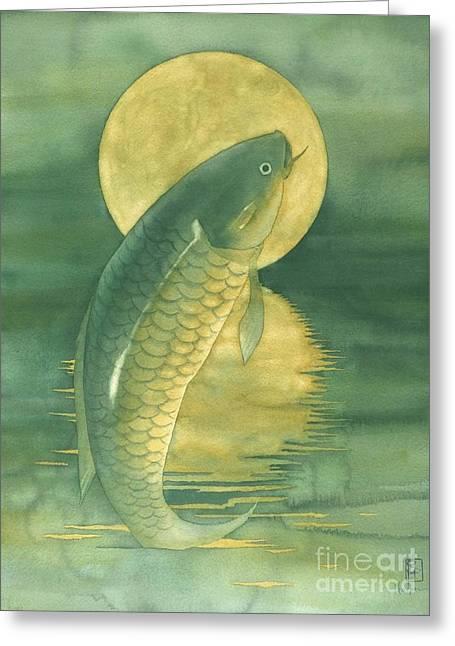 Koi Fish Greeting Cards - Moon Koi Greeting Card by Robert Hooper