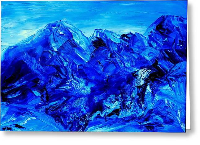 Colbalt Blue Greeting Cards - Moon Light Basin Big Sky Montana Greeting Card by Cheryl Gordon