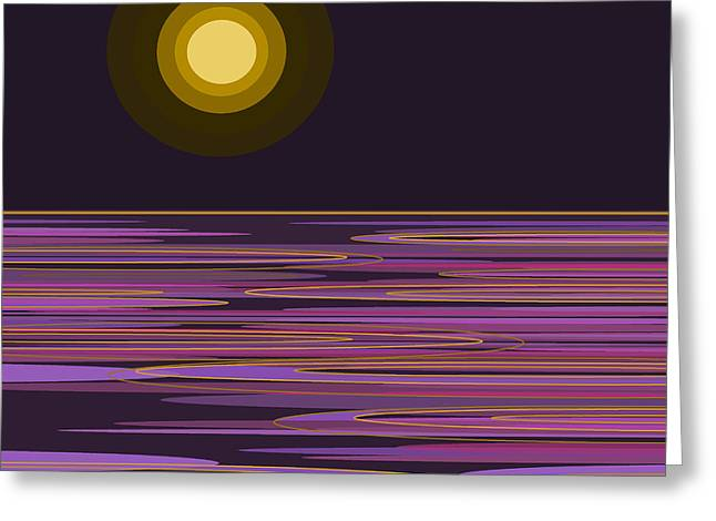 Signature Digital Art Greeting Cards - Moon Light Bay -  Purple Greeting Card by Val Arie