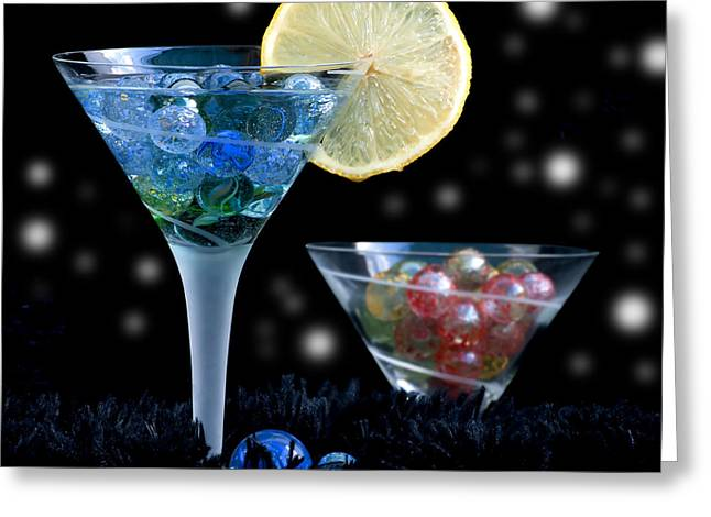 Sweet Touch Greeting Cards - Moon light cocktail lemon flavour with stars 1 Greeting Card by Pedro Cardona