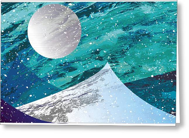 Snowy Night Night Mixed Media Greeting Cards - Moon Light Mountains Greeting Card by Tim Ford