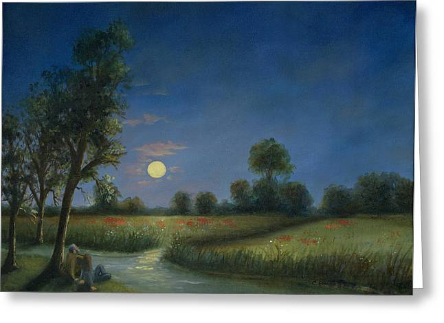 Sky Lovers Art Greeting Cards - Moonlight Poppies in Argenteuil  Greeting Card by Cecilia  Brendel