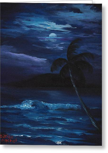 Tropical Island Greeting Cards - Moon light tropics Greeting Card by Darice Machel McGuire