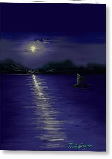 Sea Moon Full Moon Greeting Cards - Moon light Greeting Card by Twinfinger