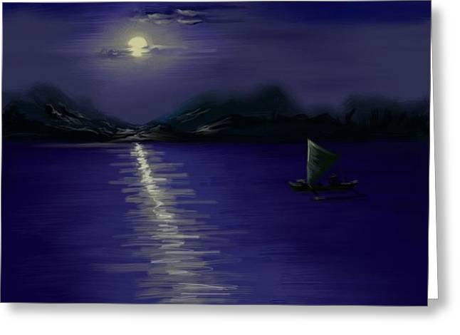 Moon light Greeting Card by Twinfinger