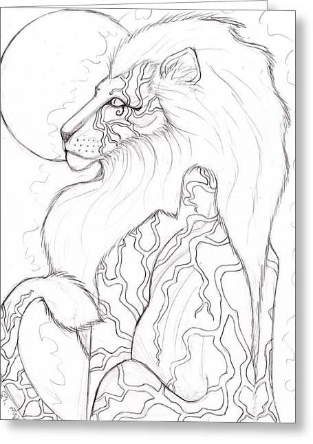 Horus Greeting Cards - Moon Lion Sketch Greeting Card by Coriander  Shea