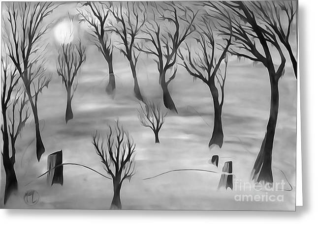 Justin Moore Digital Art Greeting Cards - Moon Lit Fog 2 Greeting Card by Justin Moore