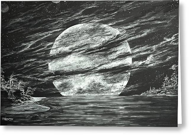 Outerspace Drawings Greeting Cards - Moon Lit Night Greeting Card by Pamela Blayney