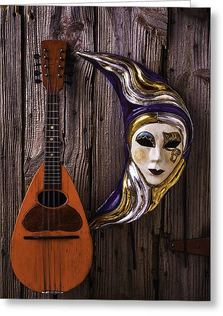 Moon Mask And Mandolin Greeting Card by Garry Gay