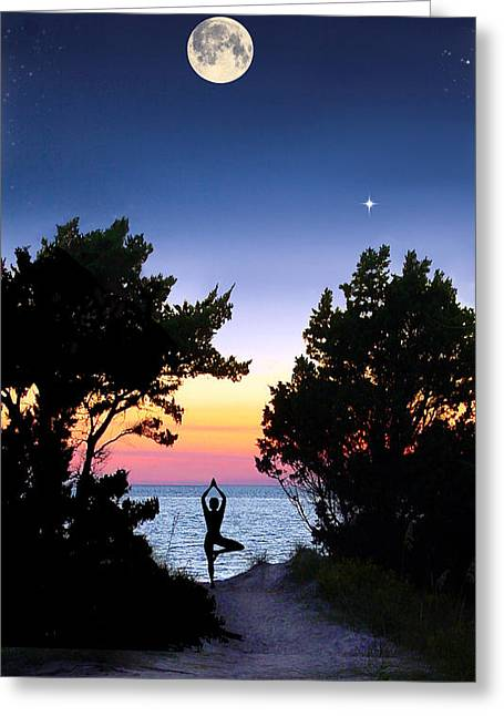 Moon Beach Pyrography Greeting Cards - Moon Meditation Greeting Card by Kathleen Horner