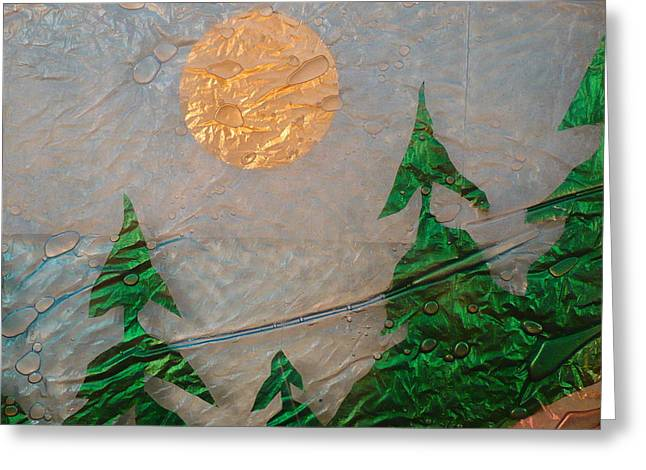 Ocean Landscape Glass Art Greeting Cards - Moon Mist  Greeting Card by Rick Silas