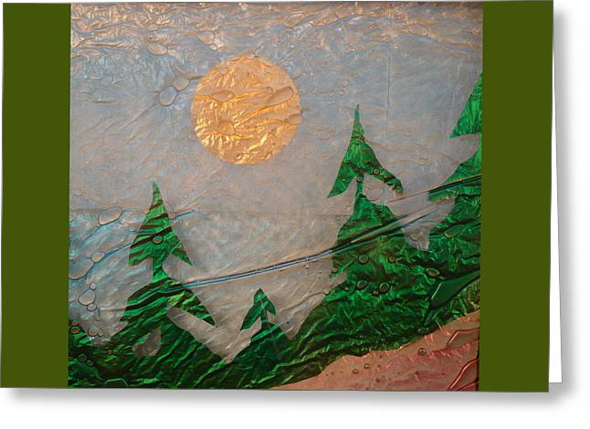 Fantasy Tree Glass Greeting Cards - Moon Mist  Greeting Card by Rick Silas