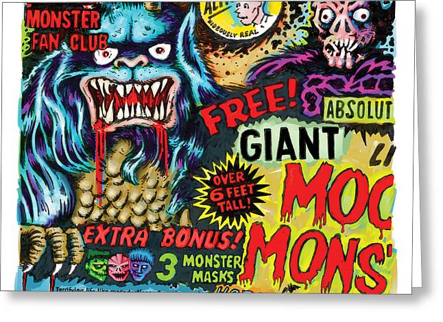 Drive In Movies Greeting Cards - Moon Monster Greeting Card by Vince Bonavoglia