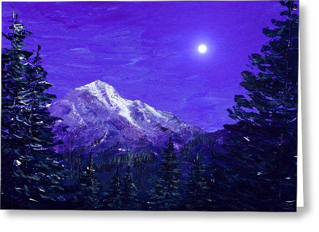 Snow Tree Prints Digital Greeting Cards - Moon Mountain Greeting Card by Anastasiya Malakhova