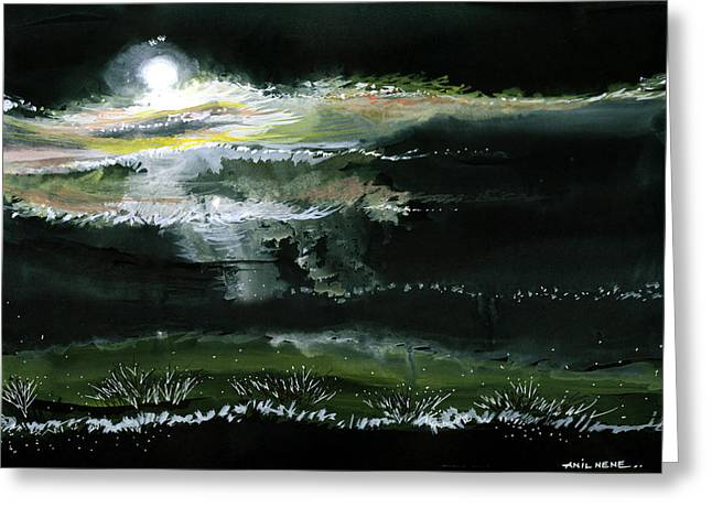 Yellow Black White Silver Greeting Cards - Moon N Light Greeting Card by Anil Nene