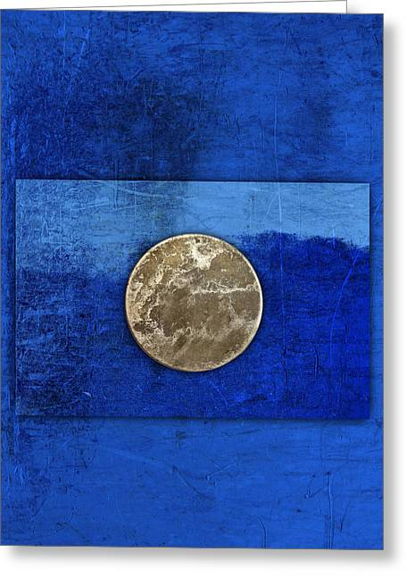 Disk Photographs Greeting Cards - Moon on Blue Greeting Card by Carol Leigh