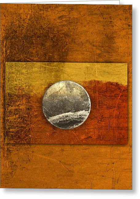 Disk Photographs Greeting Cards - Moon on Gold Greeting Card by Carol Leigh