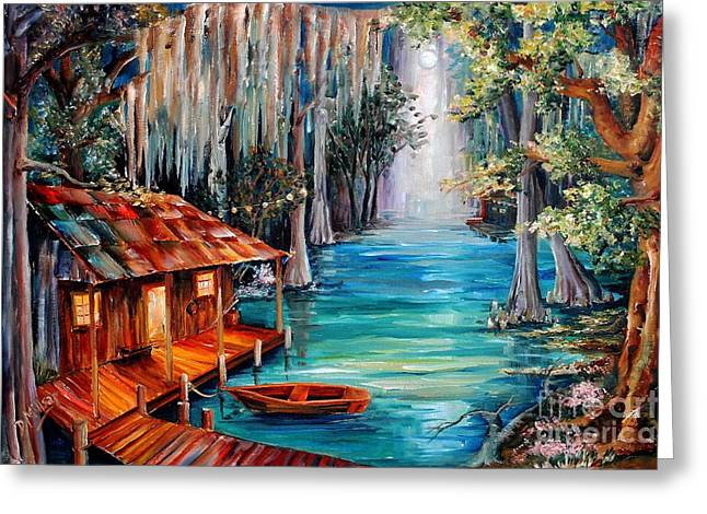 Oak Tree Paintings Greeting Cards - Moon on the Bayou Greeting Card by Diane Millsap