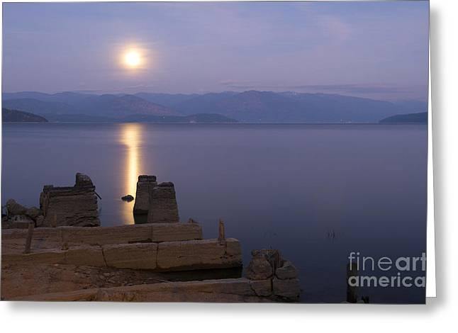 Moon On The Water Greeting Card by Idaho Scenic Images Linda Lantzy