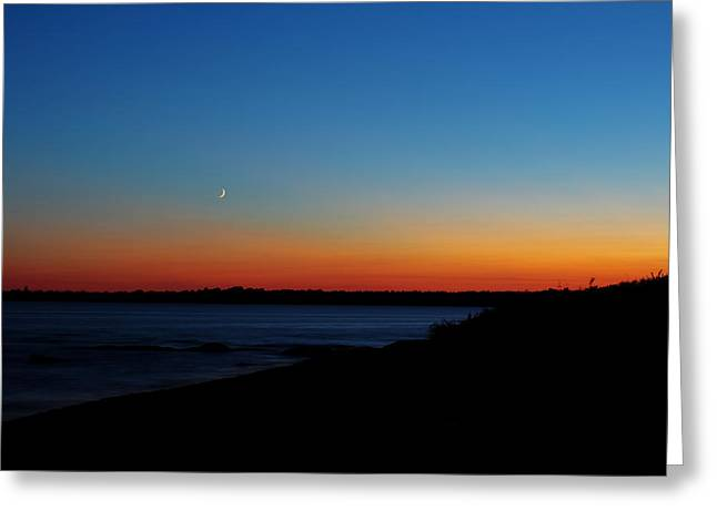 Waxing Crescent Greeting Cards - Moon Over Aquidneck Island Greeting Card by Andrew Pacheco